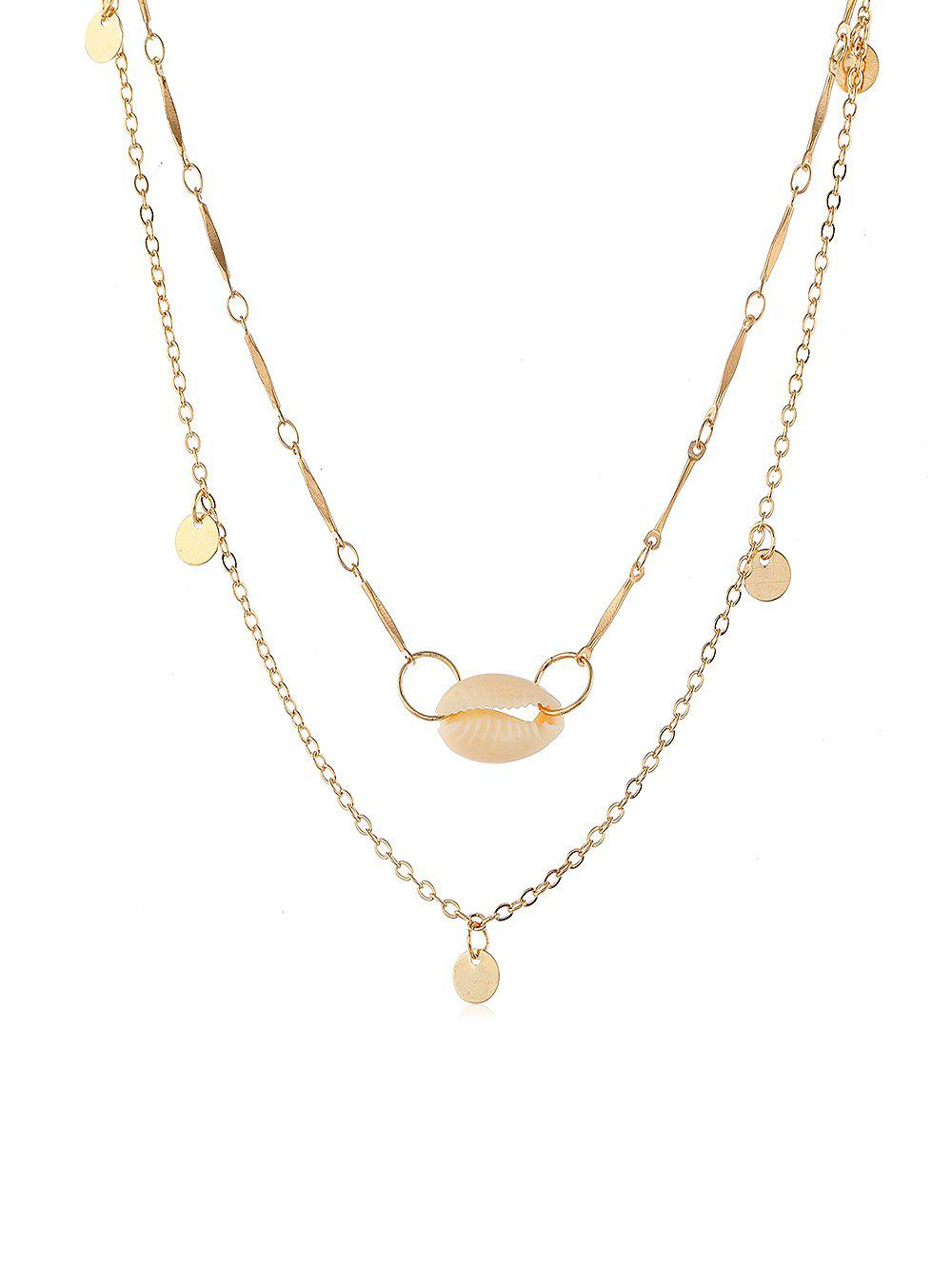 Seashell Round Disc Decoration Necklace, Gold