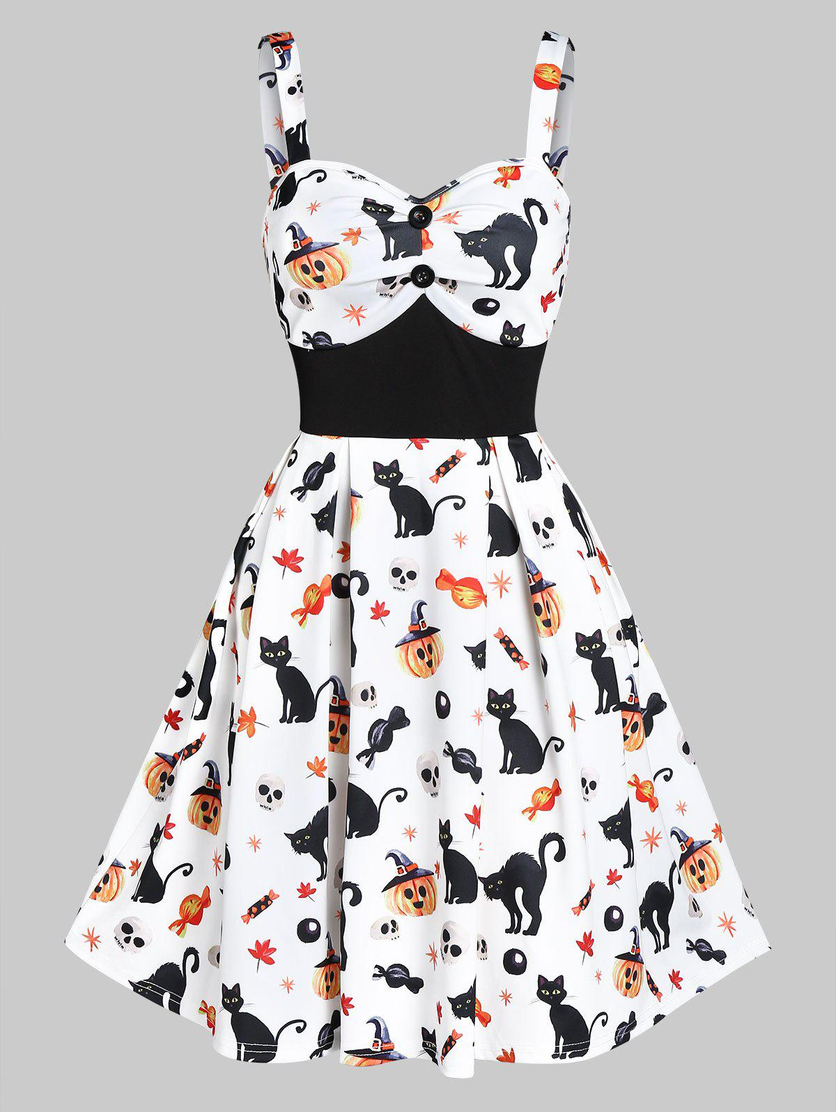 Store Sweetheart Neck Cat Pumpkin Print Fit And Flare Halloween Dress
