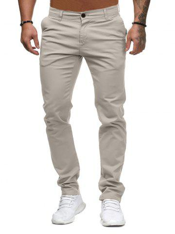 Solid Color Zip Fly Casual Pants