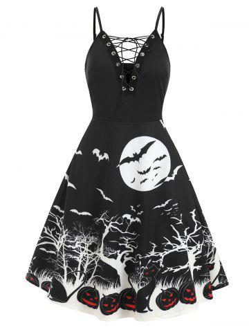Lace Up Pumpkin Bat Halloween Flare Dress