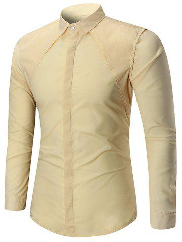 Long Sleeve Solid Color Button Slim Fit Shirt