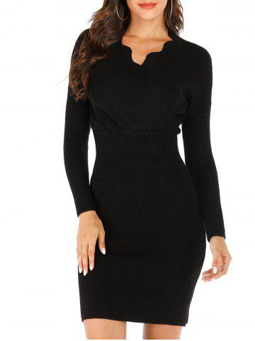 Scalloped Ribbed Bodycon Sweater Dress