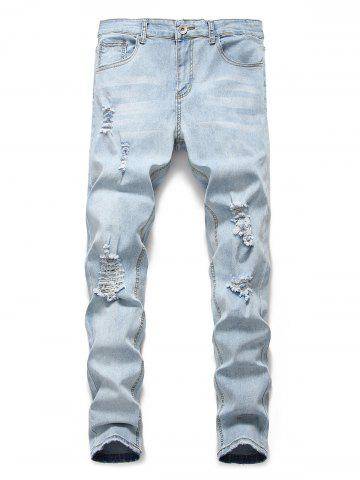 Light Wash Distressed Design Casual Jeans - JEANS BLUE - 3XL