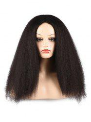 Afro Yaki Straight Synthetic Fluffy Center Part Long Wig -