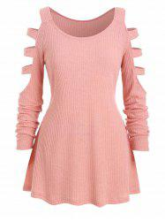 Plus Size Ladder Cutout Ribbed Tunic Knitwear -