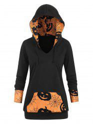 Front Pocket Cobwebs Pumpkin Halloween Plus Size Hoodie -