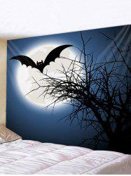 Halloween Moon Bat Print Waterproof Wall Tapestry -