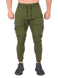 Contrast Trim Splicing Flap Pocket Sport Jogger Pants -
