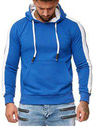 Contrast Trim Spliced Pullover Kangaroo Pocket Hoodie -