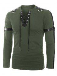 Faux Leather Harness Insert Long Sleeve Lace-up T-shirt -