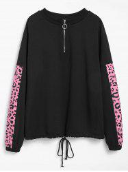 Plus Size Drawstring Half Zipper Leopard Print Sports Sweatshirt -