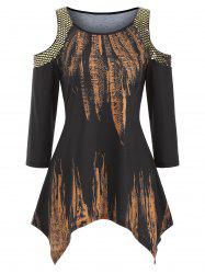 Sequined Open Shoulder Feather Print Handkerchief Top -