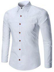 Solid Color Faux Pocket Long Sleeve Button Shirt -