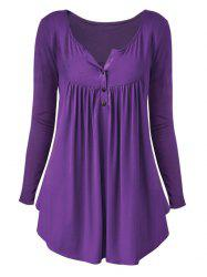 Plus Size Long Sleeve Half Button T Shirt -