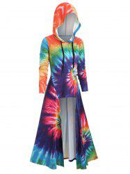 Hooded Spiral Tie Dye Print Maxi Top -