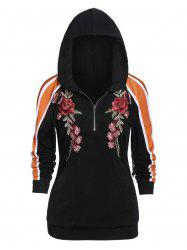 Zippered Long Sleeve Embroidered Hoodie -