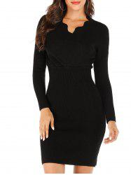 Scalloped Ribbed Bodycon Sweater Dress -