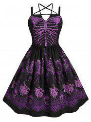 Skeleton Print Harness Criss Cross Halloween Plus Size Dress -