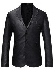 Faux Leather Button Long-sleeved Blazer -