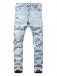 Light Wash Distressed Design Casual Jeans -