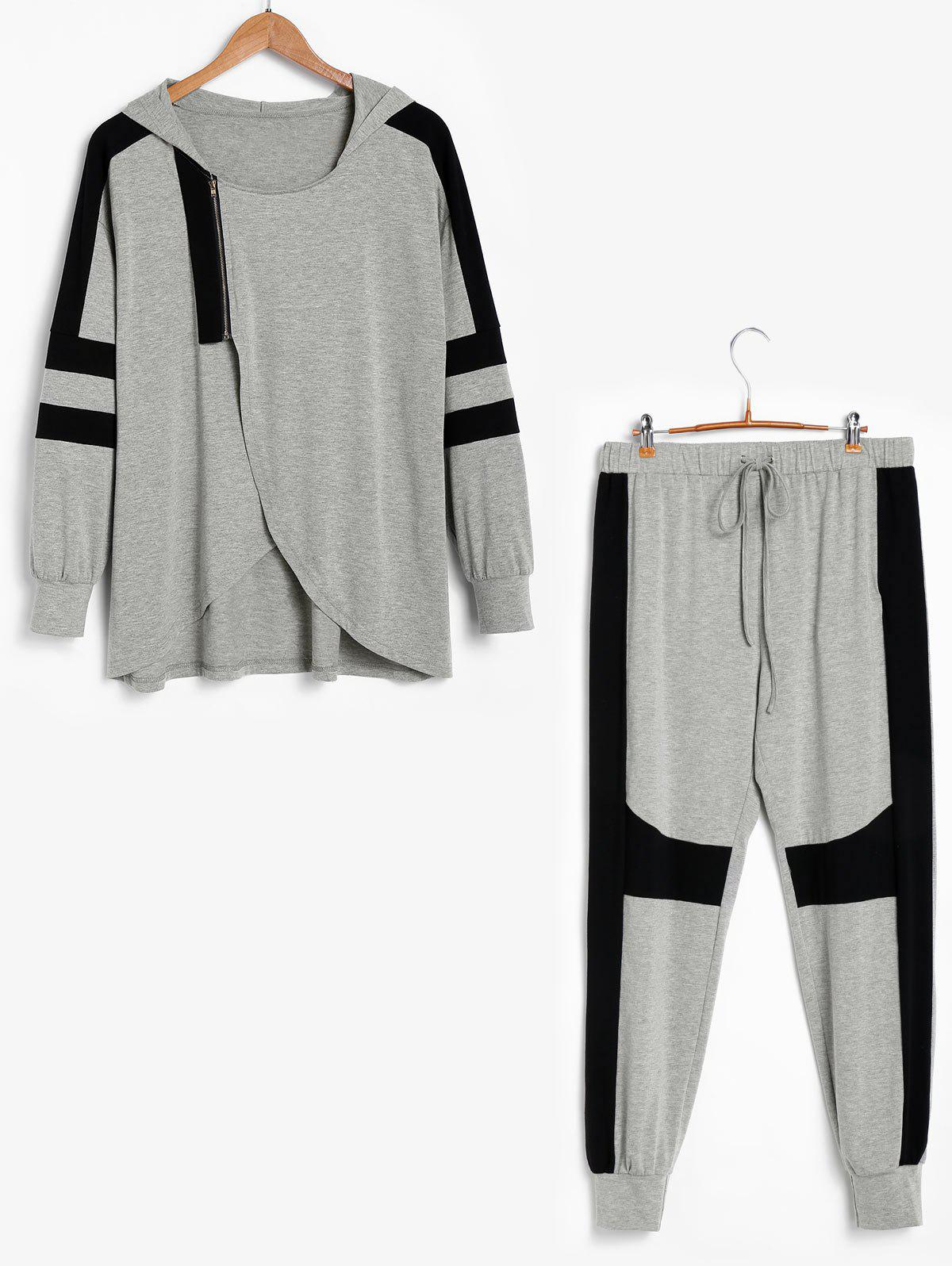 Fashion Plus Size Color Block Hooded Jogger Pants Set