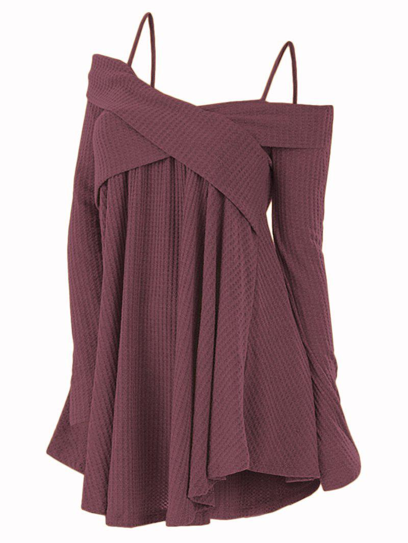 Fashion Open Shoulder Crisscross Tunic Sweater