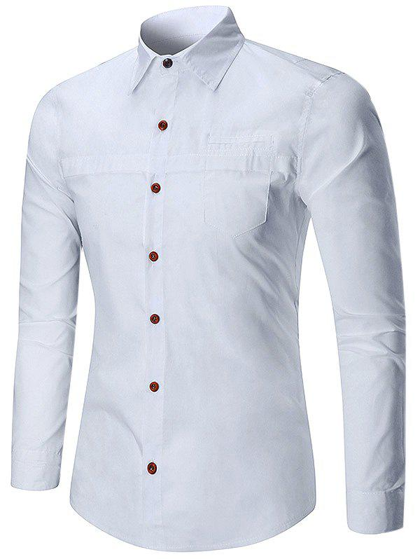 Store Solid Color Faux Pocket Long Sleeve Button Shirt