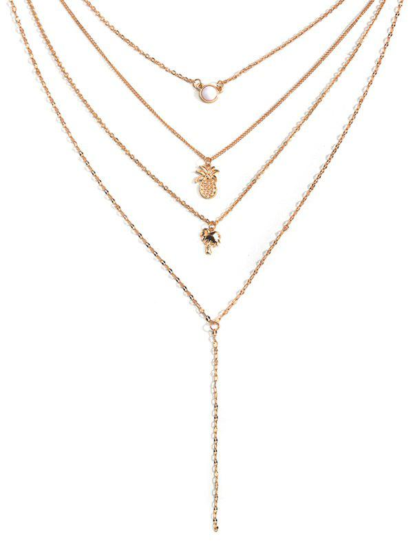Chic Pineapple Coconut Tree Multilayered Necklace