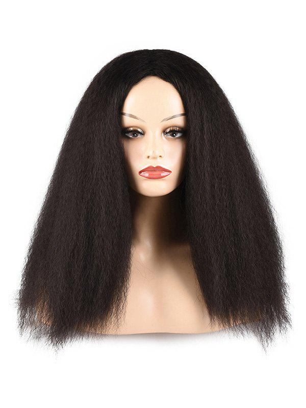 Fashion Afro Yaki Straight Synthetic Fluffy Center Part Long Wig