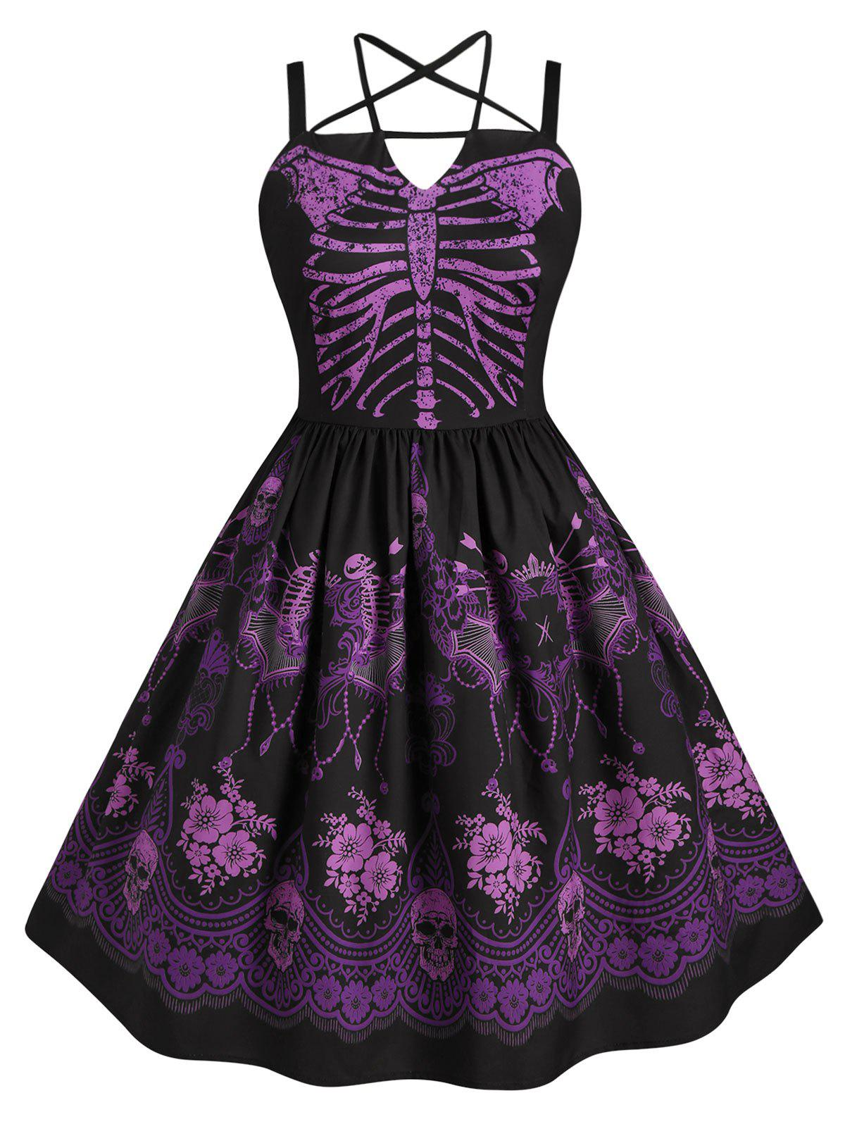 Affordable Skeleton Print Harness Criss Cross Halloween Plus Size Dress