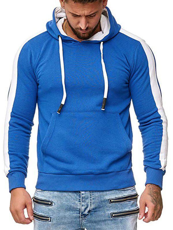 Shops Contrast Trim Spliced Pullover Kangaroo Pocket Hoodie