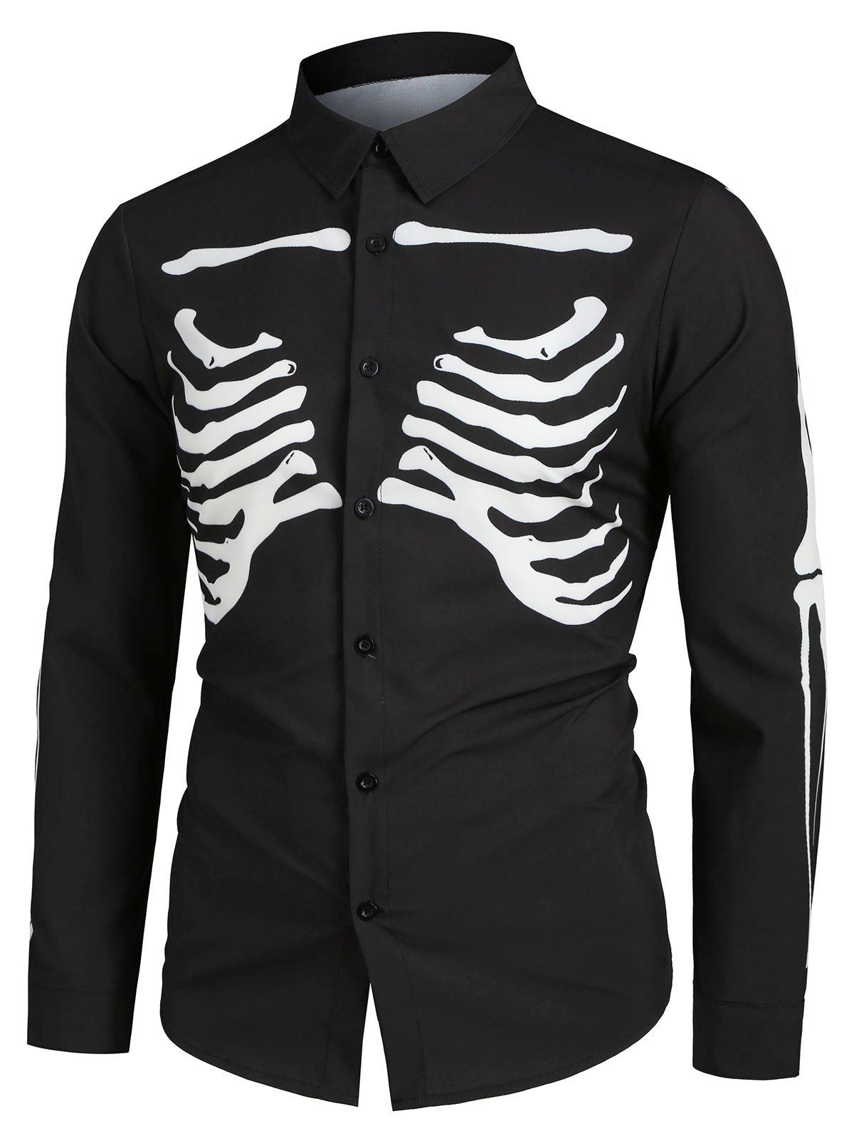 Outfits Halloween Skeleton Print Long-sleeved Shirt