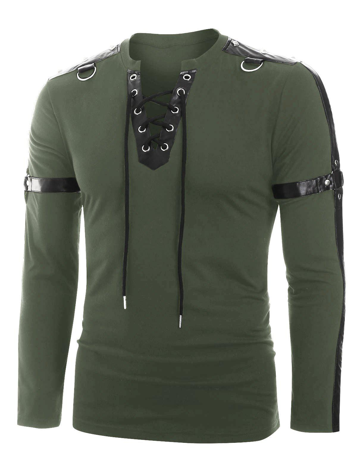 Shops Faux Leather Harness Insert Long Sleeve Lace-up T-shirt