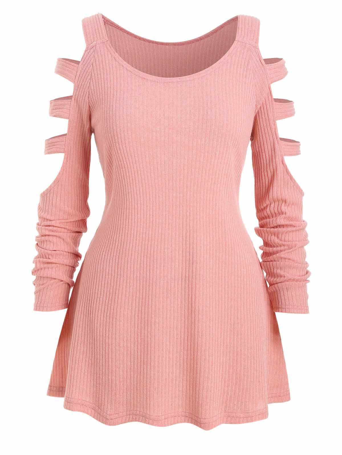 Store Plus Size Ladder Cutout Ribbed Tunic Knitwear