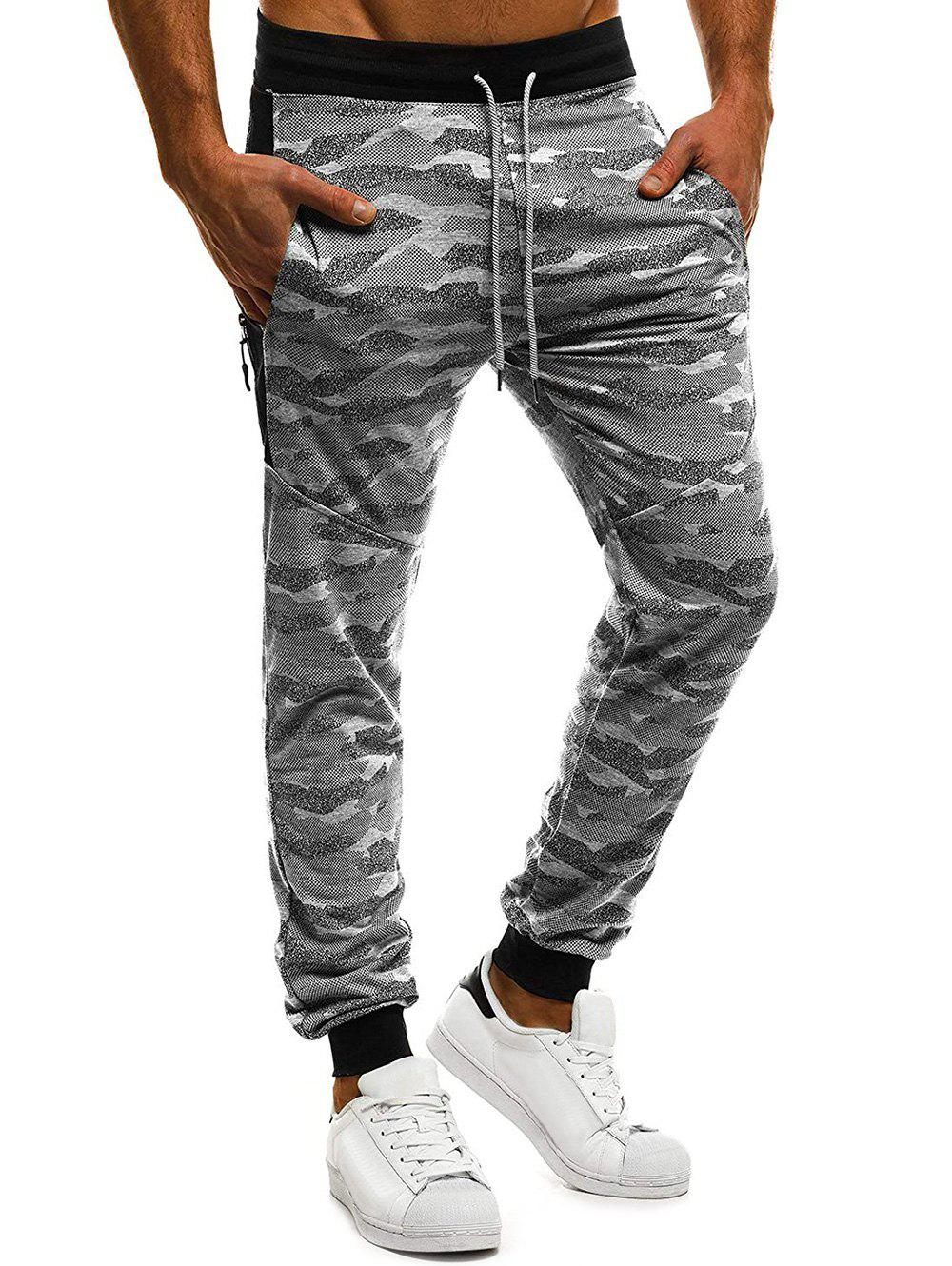 Chic Camouflage Print Color Block Spliced Sport Jogger Pants