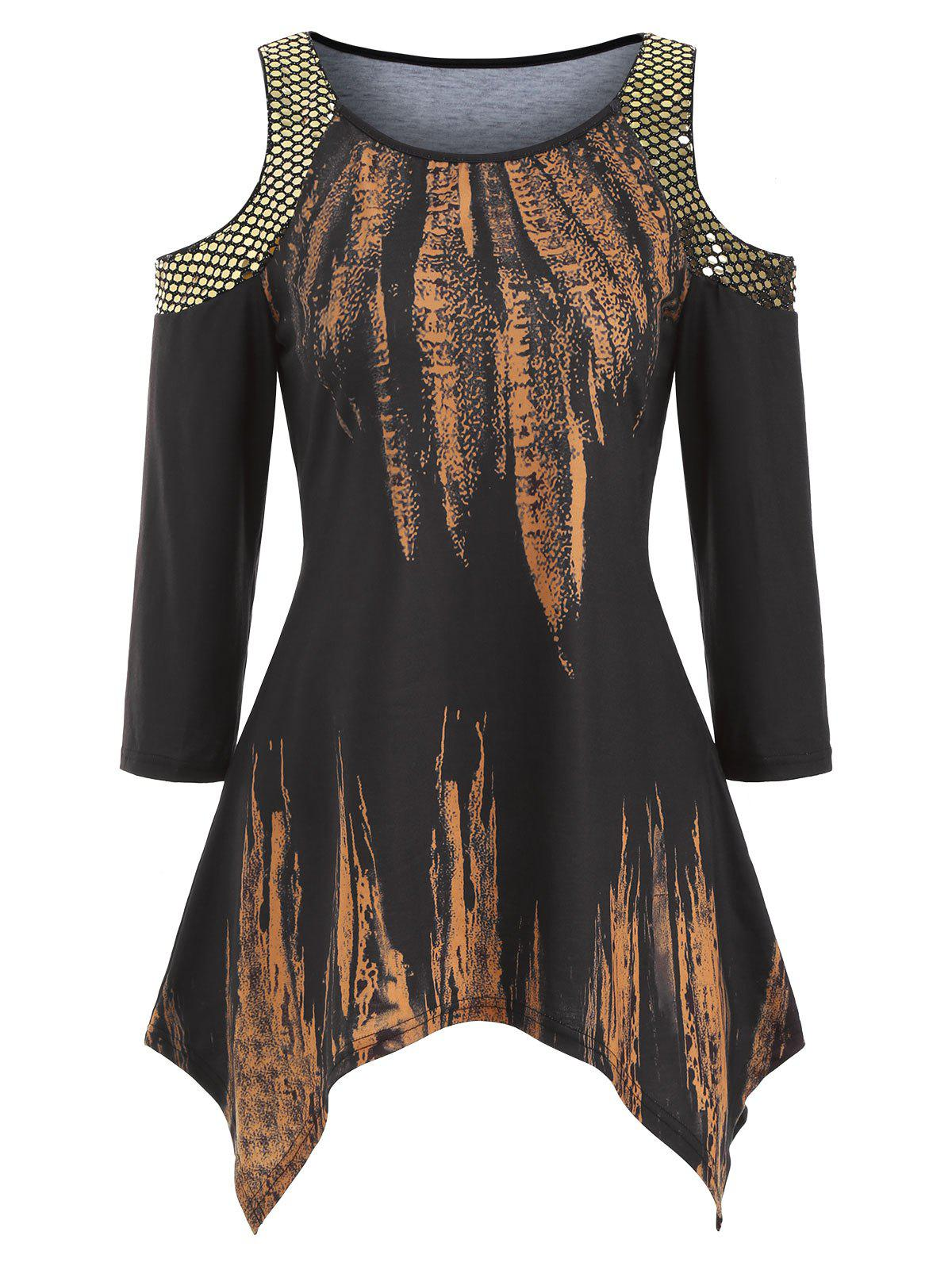 Affordable Sequined Open Shoulder Feather Print Handkerchief Top
