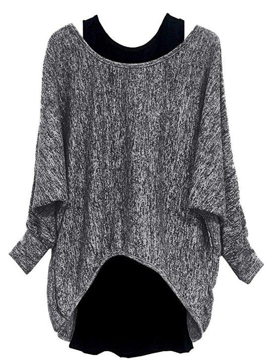 Affordable Plus Size Batwing Sleeve Marled High Low Tee And Tank Top Set