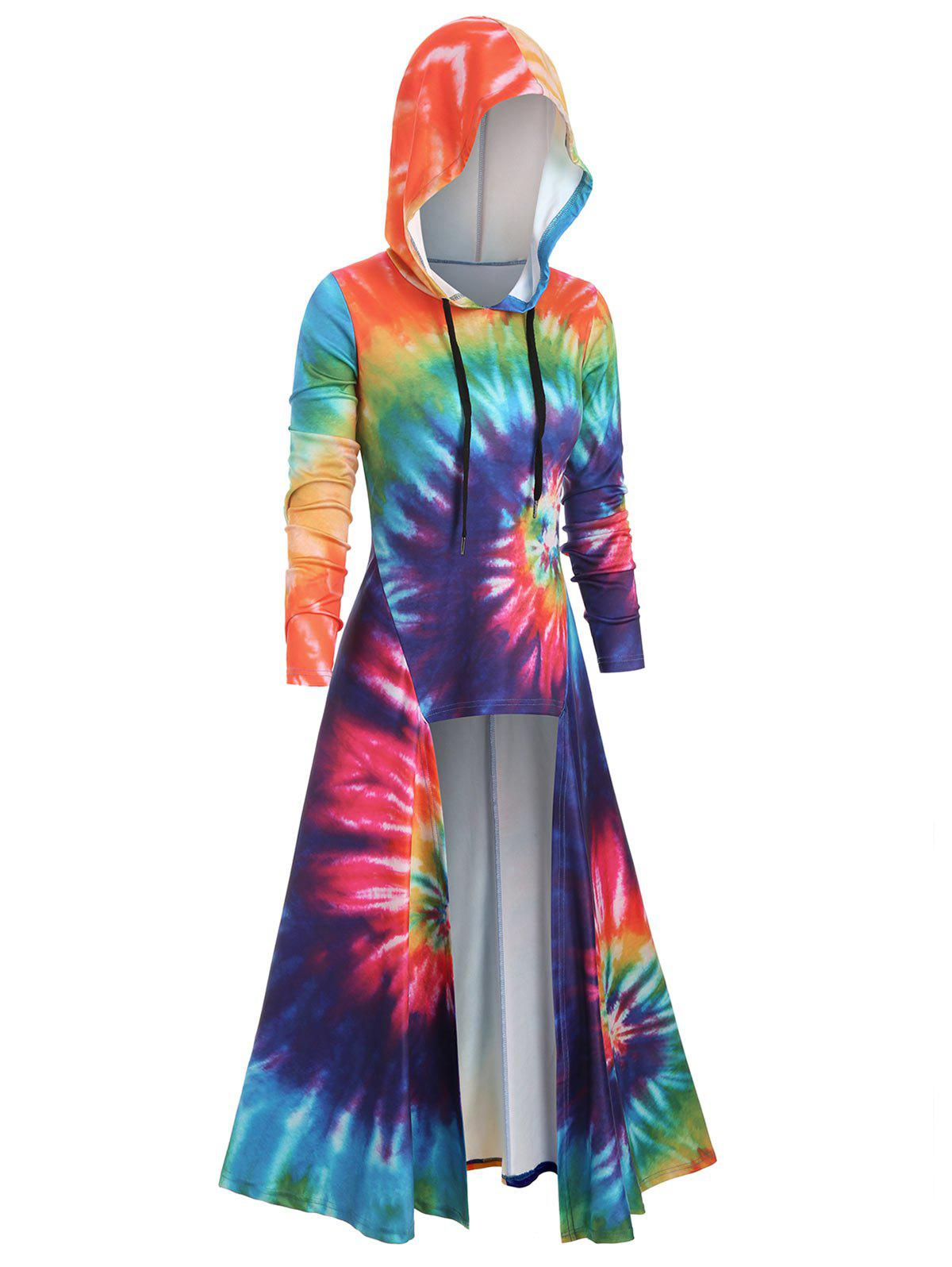 Discount Hooded Spiral Tie Dye Print Maxi Top