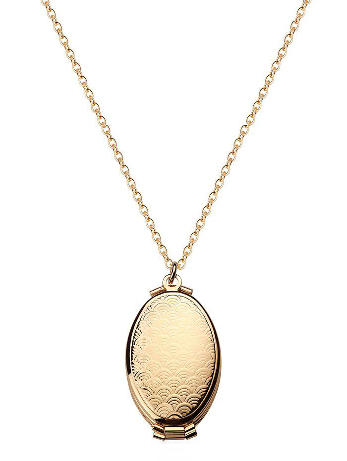 Cheap Oval Engraved Floral Photo Locket Necklace
