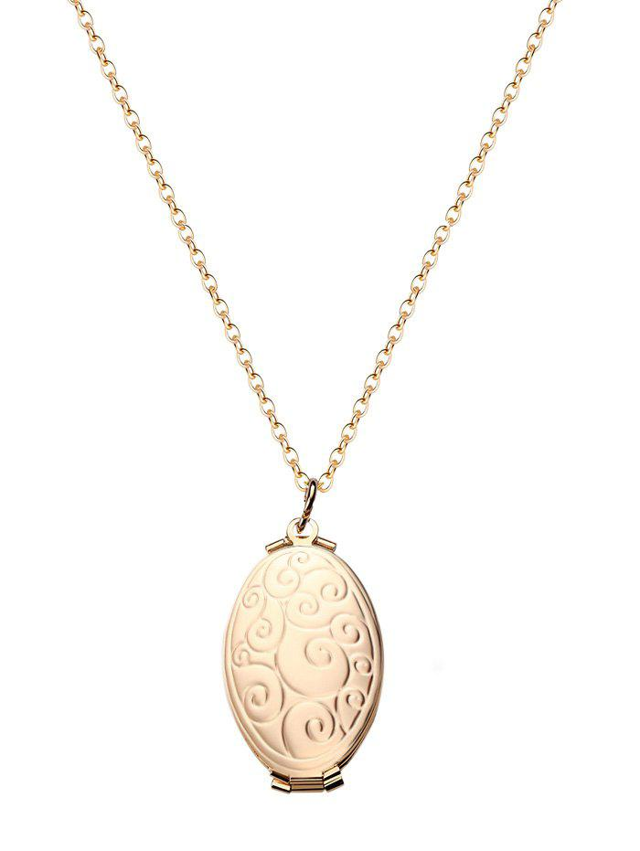 Outfit Oval Engraved Floral Photo Locket Necklace