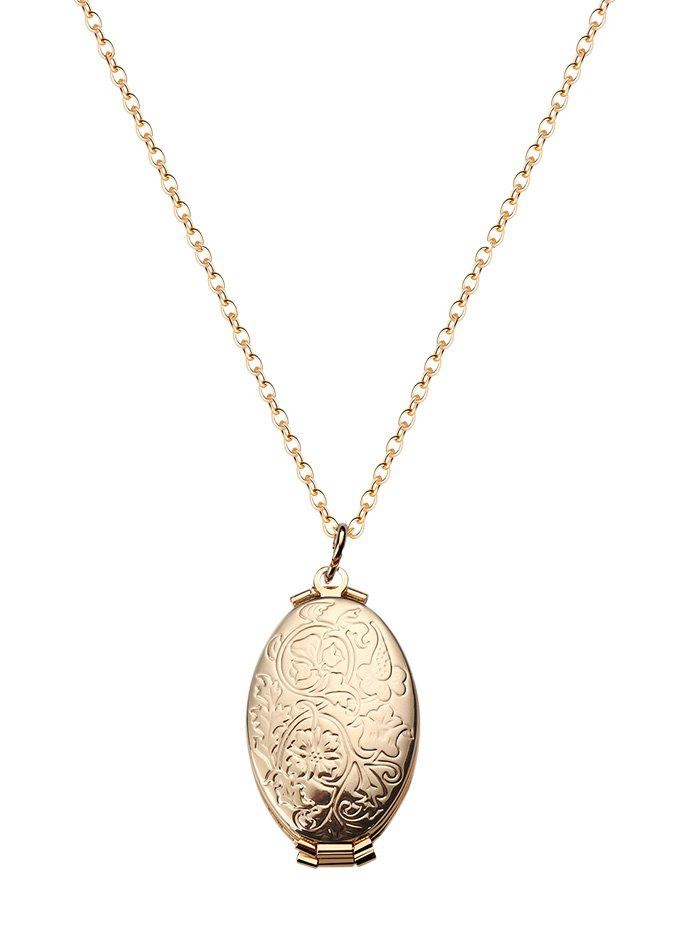 Online Oval Engraved Floral Photo Locket Necklace