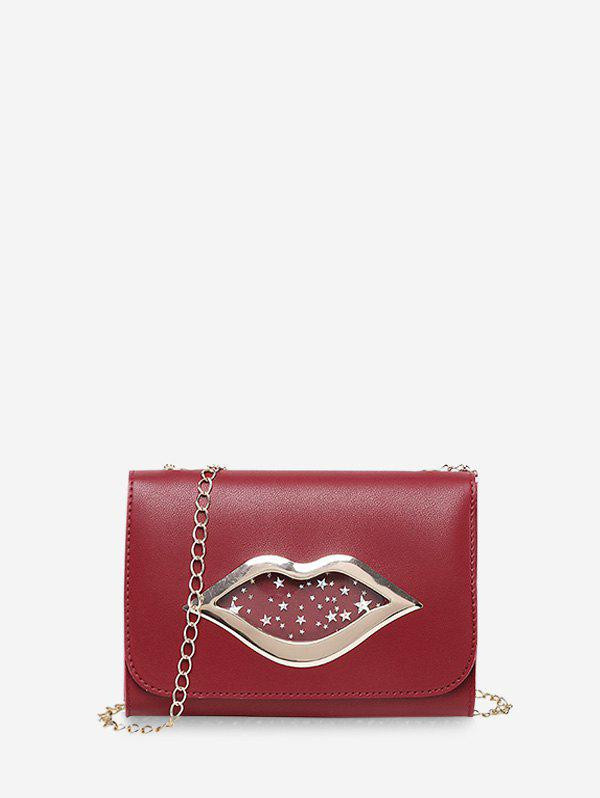 Chic Lips Shape Pattern Sequins Square Chain Bag