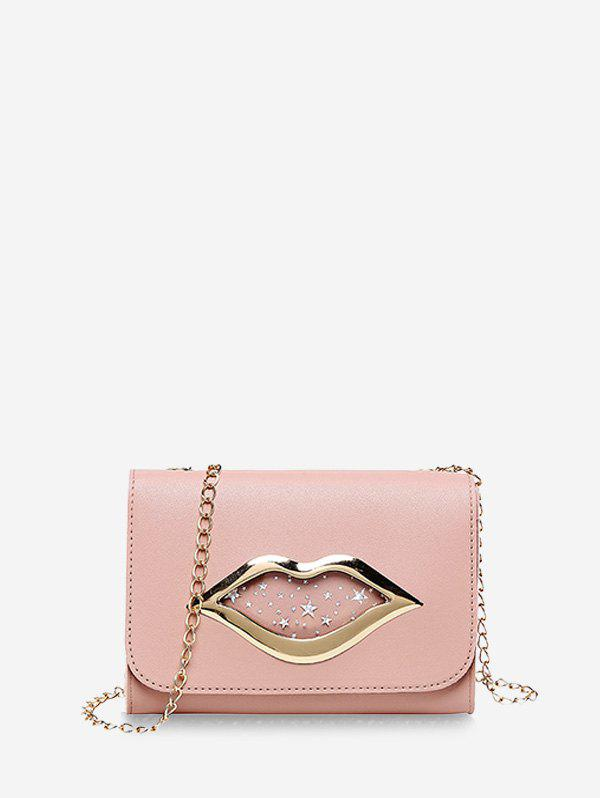 Latest Lips Shape Pattern Sequins Square Chain Bag