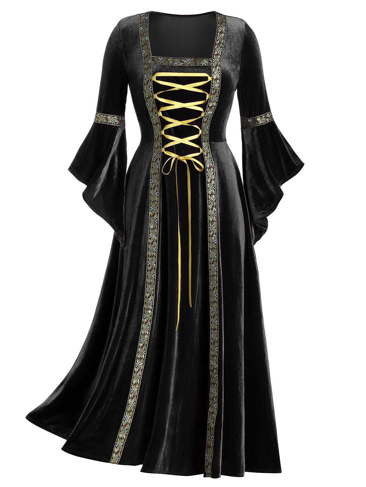 Outfits Plus Size Flare Sleeve Lace Up Velvet Gothic Maxi Dress