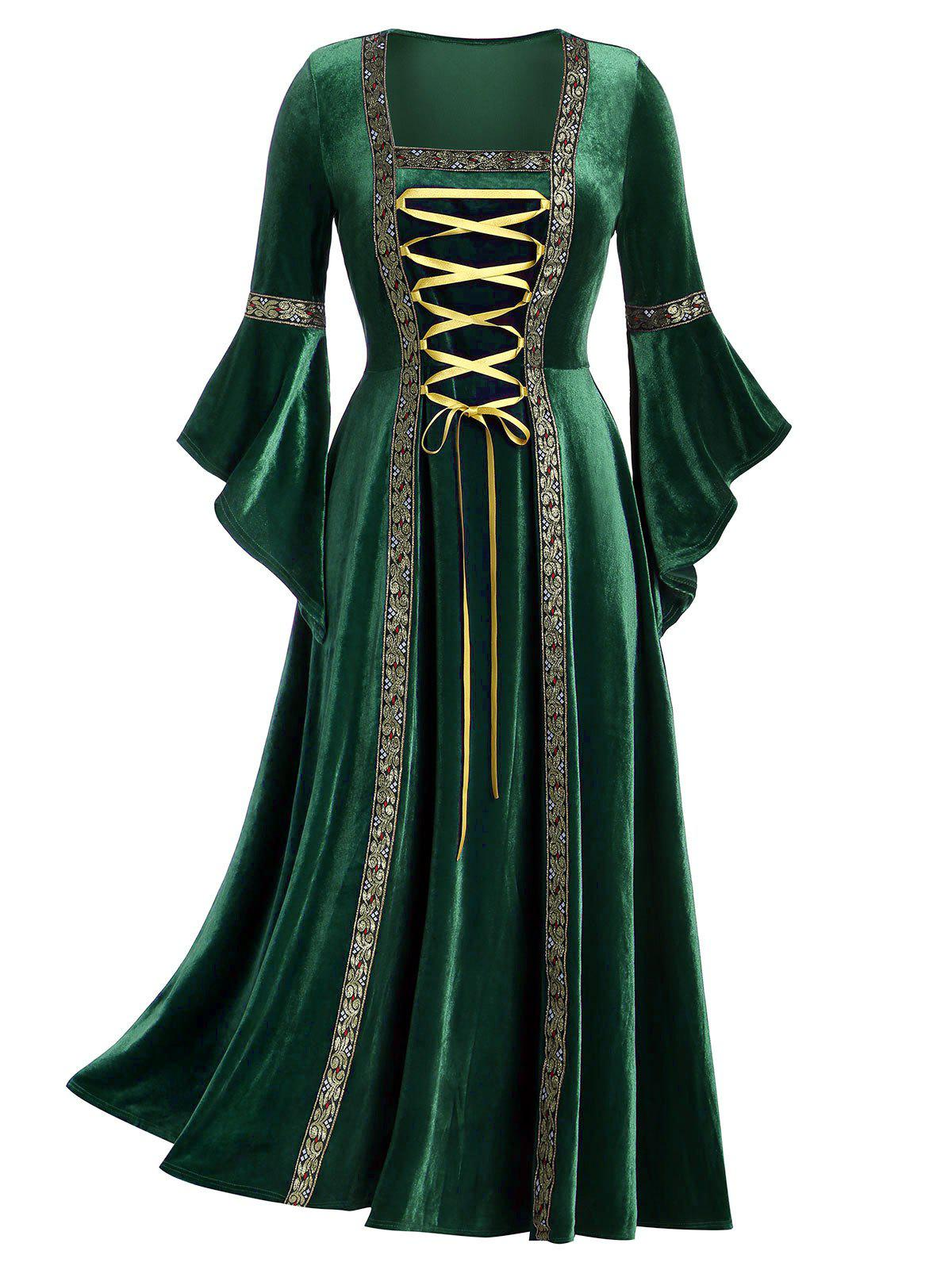 Best Plus Size Flare Sleeve Lace Up Velvet Gothic Maxi Dress