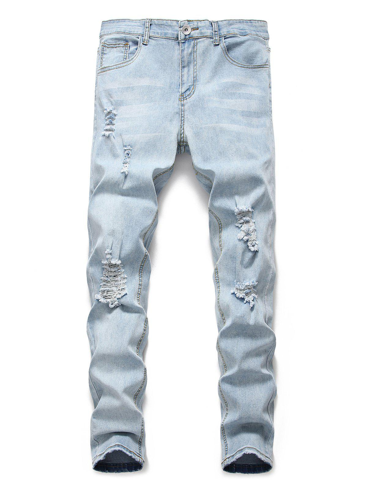 Best Light Wash Distressed Design Casual Jeans
