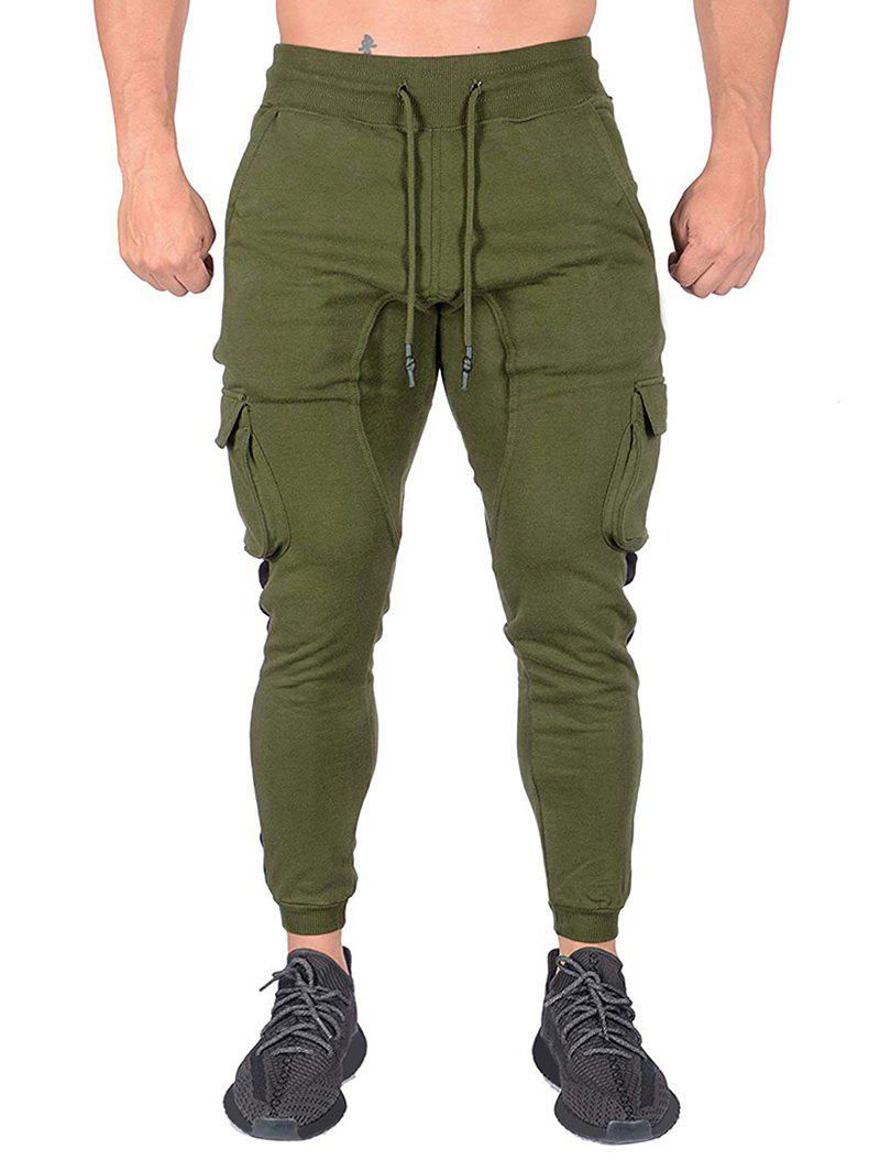 Outfit Contrast Trim Splicing Flap Pocket Sport Jogger Pants