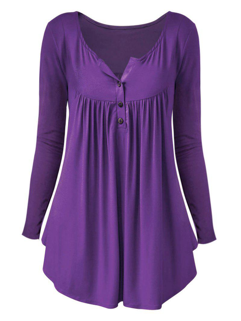 Chic Plus Size Long Sleeve Half Button T Shirt