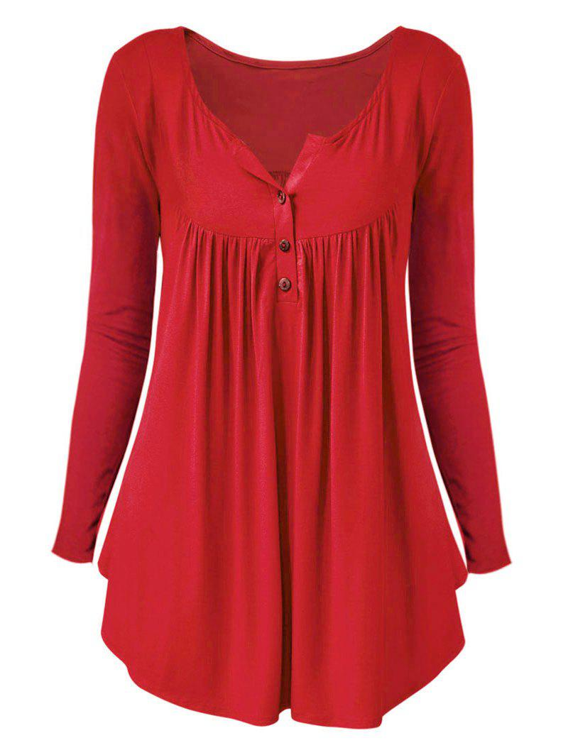 Outfits Plus Size Long Sleeve Half Button T Shirt