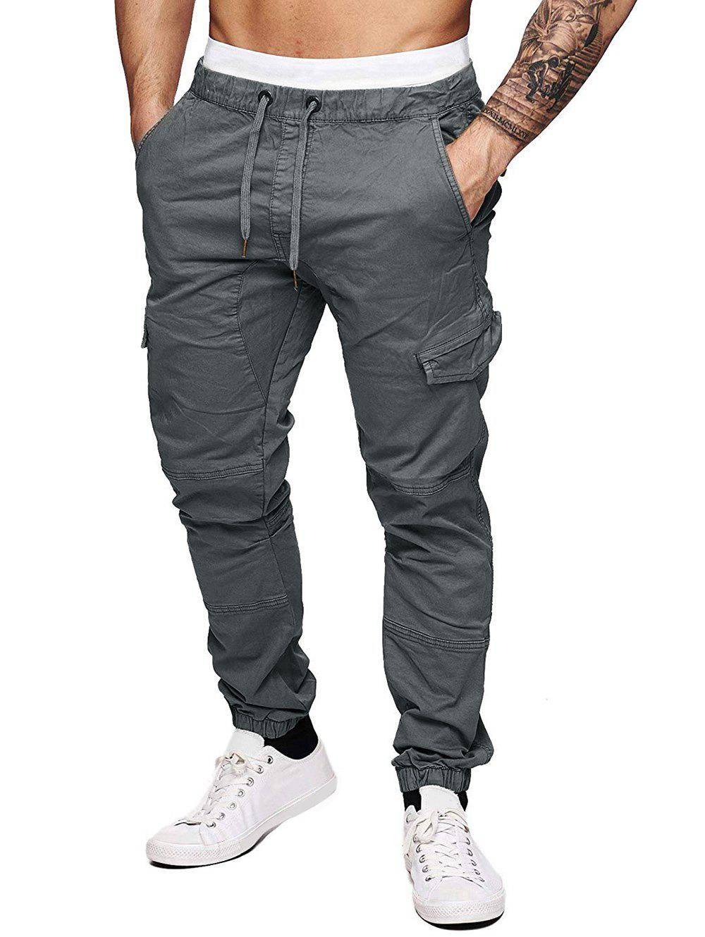 Fancy Solid Color Splicing Faux Back Pocket Casual Jogger Pants
